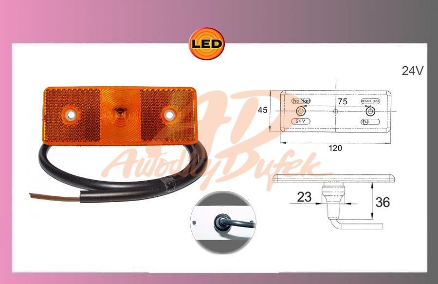 světlo LED-oranž.MB ACTROS-24V+kabel