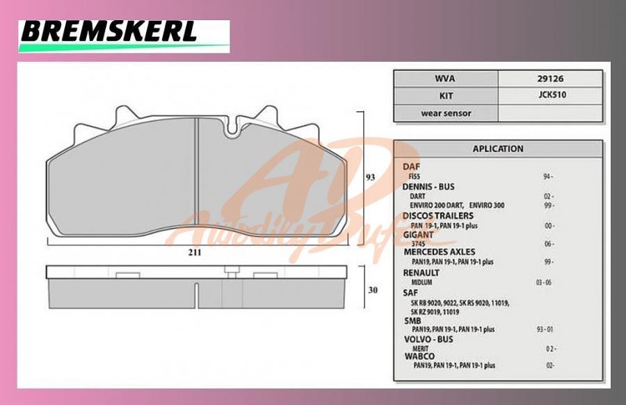 desky brzdové SAF-SKRB9019WI-BREMSKERL