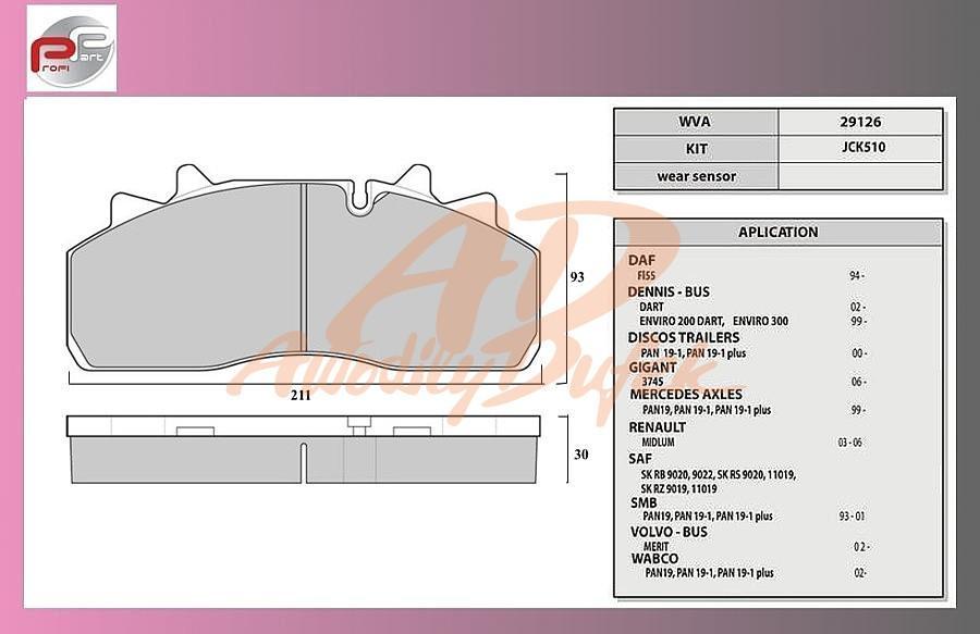 desky brzdové SAF-SKRB9019WI-