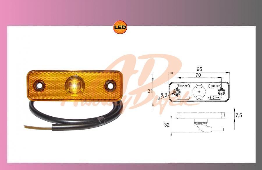 světlo LED-oranž-24V +0,5m kabel