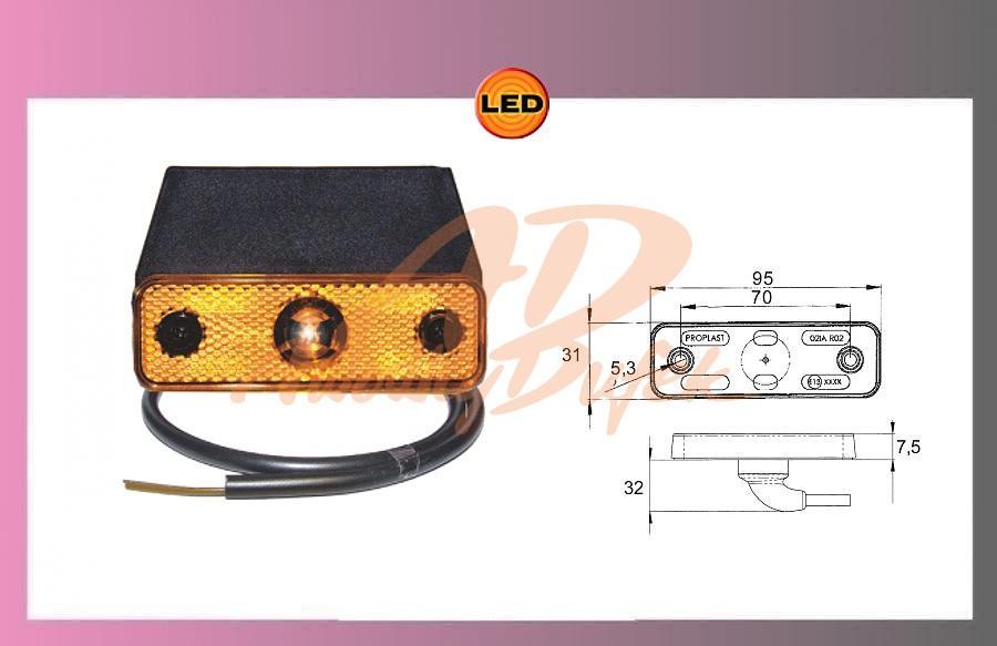 světlo LED oranž.24V+kabel +držák