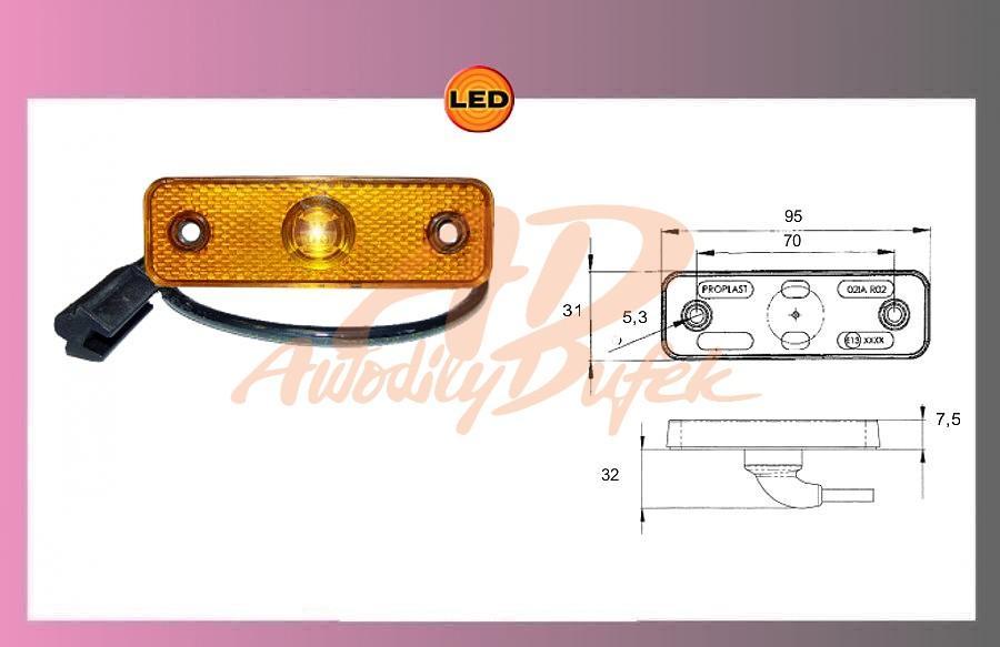 světlo LED oranž.24V/0.8W-kabel 0.5m
