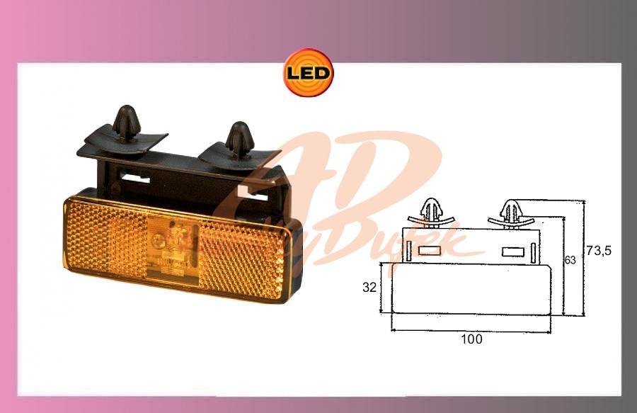 světlo LED oranž.24V +nácvak.držák