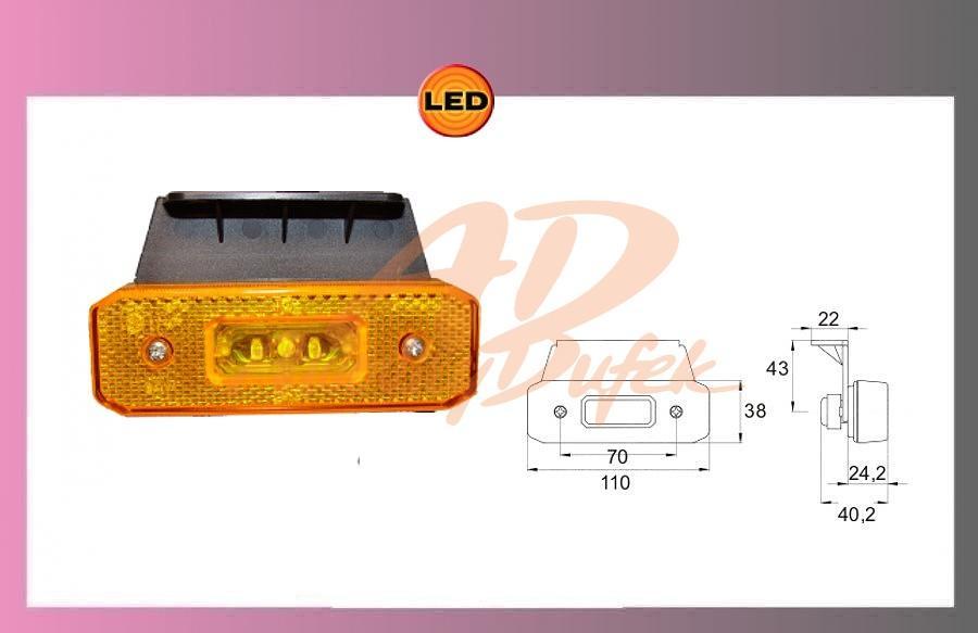 světlo LED-oranž.24V/0,55w+kabel+držák
