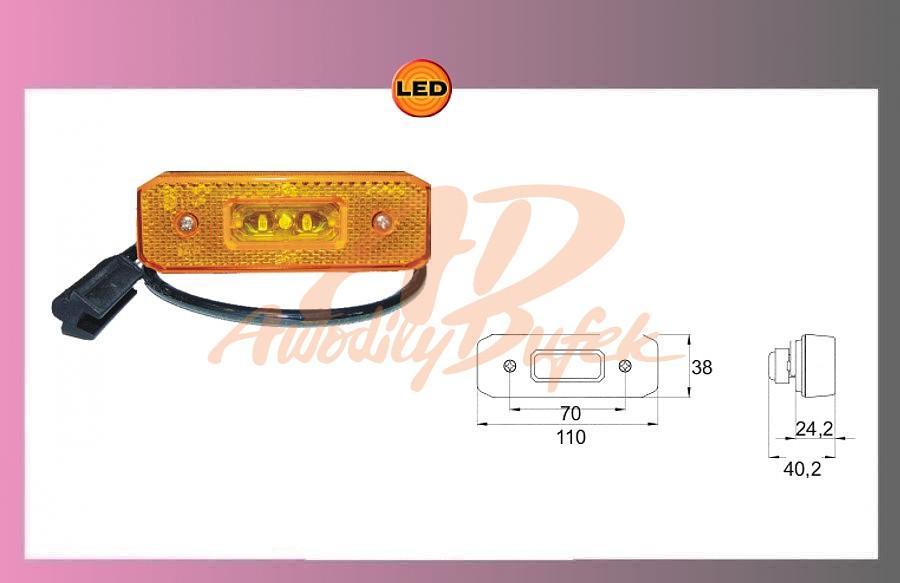 světlo LED-oranž.24V/0,55w +kabel