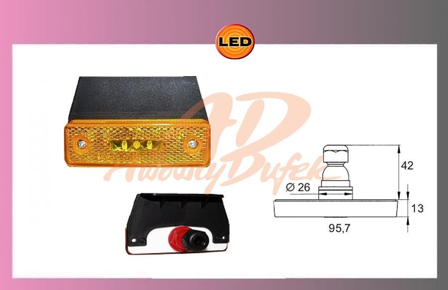 světlo LED oranž.24V + držák