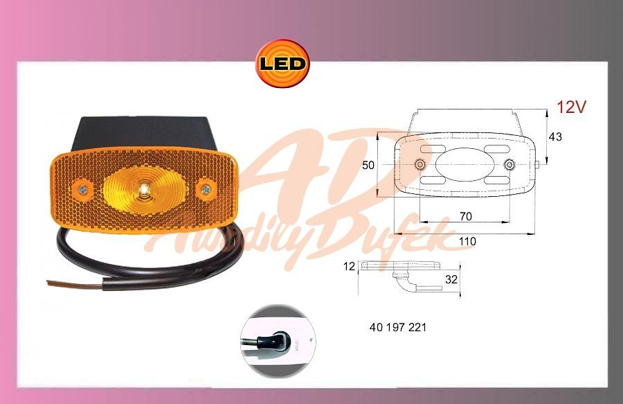 světlo LED oranž.12V/1W-kabel+držák