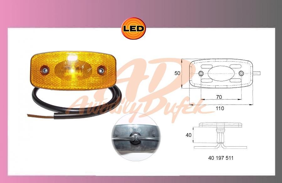 světlo LED oranž. 24V+kabel 0.5m