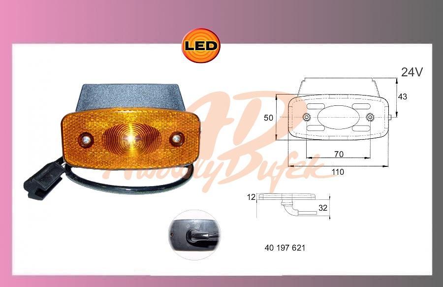 světlo LED-oranž,24V+kabel+držák