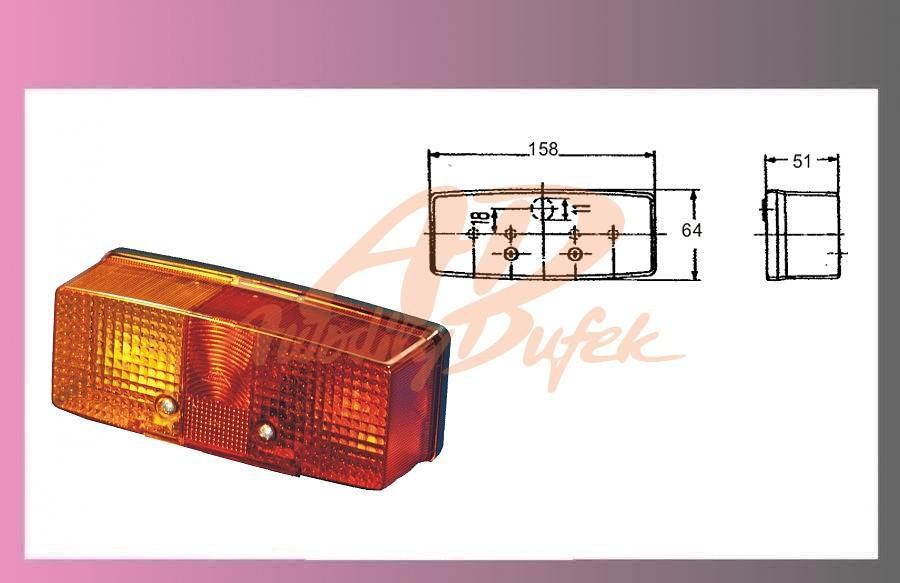 lampa zadní 3.komorová pravá+SPZ
