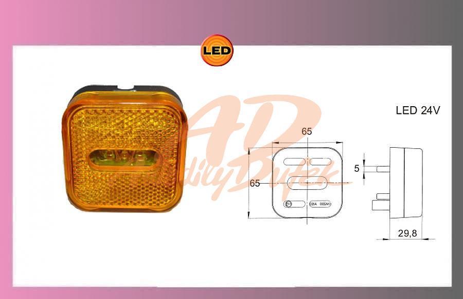 světlo LED oranž.24V MAN TGA +kabel 1,2m