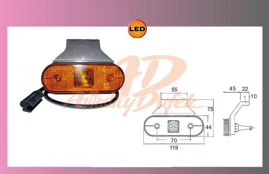 LED UNIPOINT oranž.24V/1.3W+kabel+držák